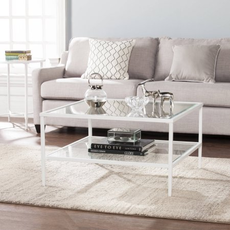 Southern Enterprises Kaari Square Metal/Glass Open Shelf Coffee Table (Unfinished Coffee Table Metal)