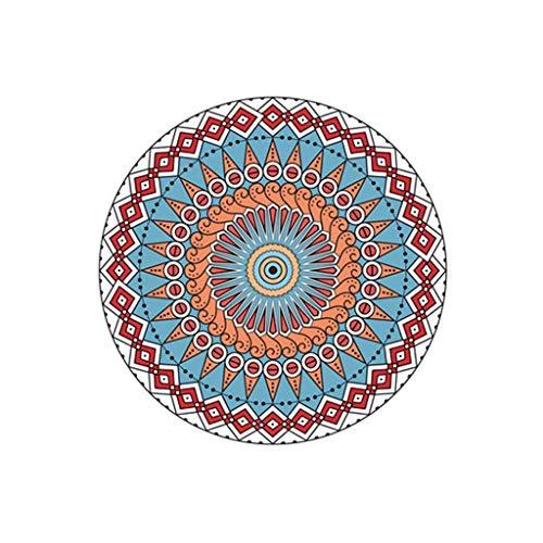 Kangma Round Carpets European Mandala Flower Series Easy to Clean Stain Traditional Room Computer Chair Sofa Area Rug