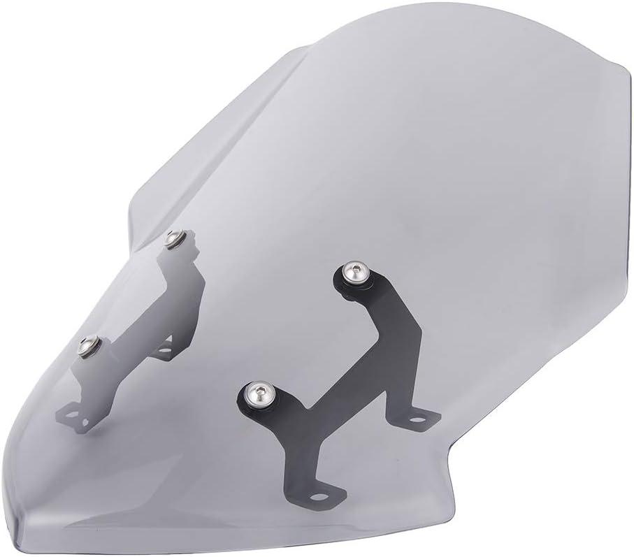 XX eCommerce Motorcycle Motorbike Sport MT07 Windshield Windscreen Shield Screen with Mounting Bracket Protector Deflecr for 2018-2019 Yamaha MT FZ 07 MT-07 18 19 Light smoke