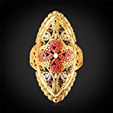GDSTAR Trendy Pattern Ring 8K Gold Plated Jewelry Shield Colorful Flower With Gift Box 10.0