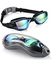 Aegend Swim Goggles, Mirrored Swimming Goggles No Leaking Anti Fog UV Protection Triathlon Swim Goggles with Free Protection Case for Adult Men Women Youth Kids Child,Blue & Black
