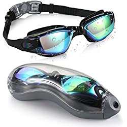 Aegend Swim Goggles, Swimming Goggles No Leaking Anti Fog UV Protection Triathlon Swim Goggles with Free Protection Case for Adult Men Women Youth Kids Child, 9 choices