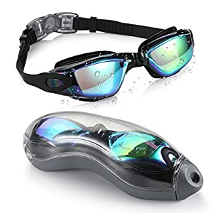 AEGEND Mirrored Swimming Goggles 2.0 No Leaking Anti Fog UV Protection Triathlon Swim Goggles Mirrored Coated with Free Protection Case for Adult Men Women Youth Kids Child, Black