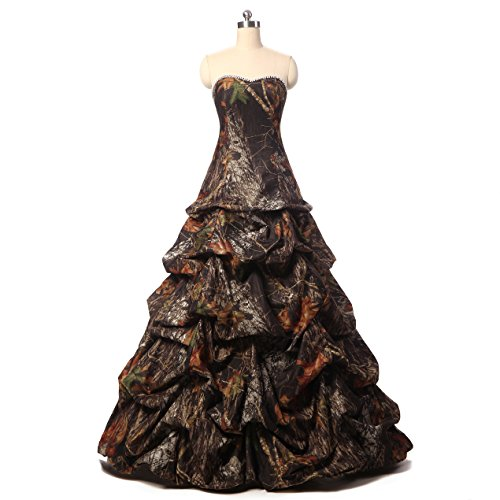 YOUAREFACNY Womens Camouflage Ball Gown Bride Dress for Wedding Camo Evening Gown by YOUAREFACNY