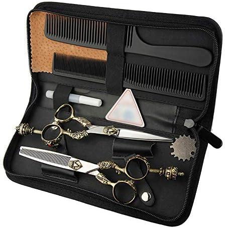 ヘアカット鋏 はさみ 6インチ美容院プロのヘアカットフラットシザー+歯シザーセットレトロハンドルはさみセット ヘアトリミングシザー (Color : Silver)