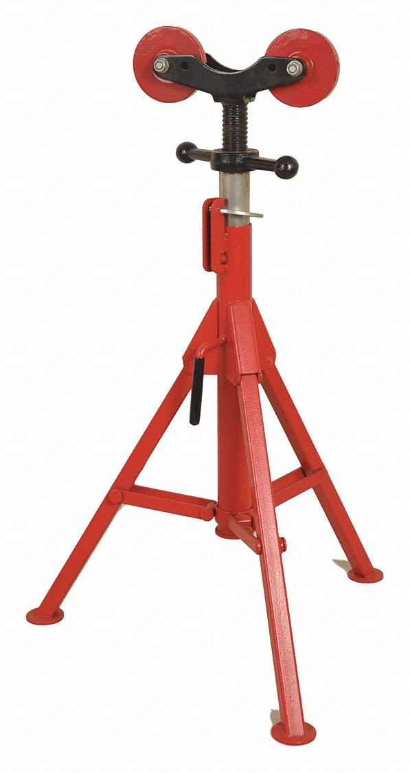 Roller Head Pipe Stand, 1/2'' to 16'' Pipe Capacity, 27'' to 50'' Overall Height, 2500 lb. Load Capacity