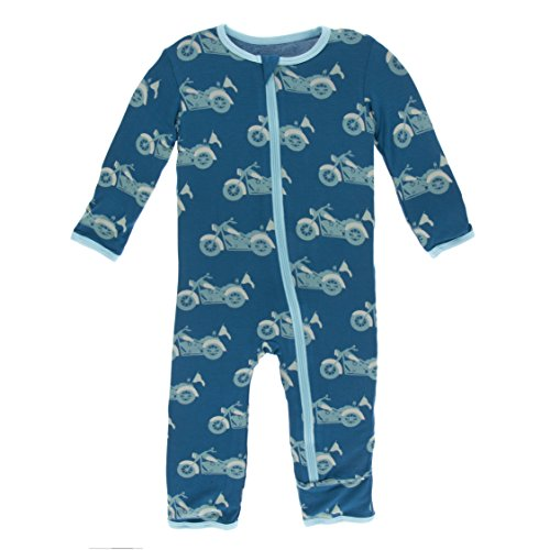 Kickee Pants Little Boys Print Coverall With Zipper - Heritage Blue Motorcycle, 4T (Best 4t Oil For Motorcycle)