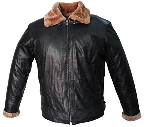 Shearling Collar Bomber Jacket - Tom Hardy Shearling Collar Bomber Dark Black Real 100% Leather Jacket Inside Fur Linning + Free Wallet (Black, Large)