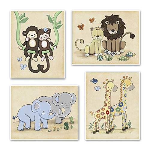 Jungle Animal and Noah s Ark Nursery Art Prints 16 x20 , Set of Four