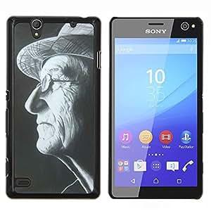 Stuss Case / Funda Carcasa protectora - Sombrero del hombre Gafas Negro Blanco Retrato - Sony Xperia C4