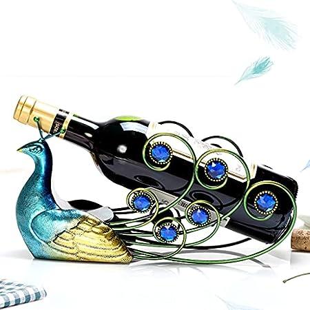 Elegante Estante De Vino De Hierro Forjado De Pavo Real Soporte De Mesa Para Una Sola Botella Exhibición De Artículos De Mobiliario Creativo Manualidades Para El Hogar Decoración De Hoteles Y Oficinas