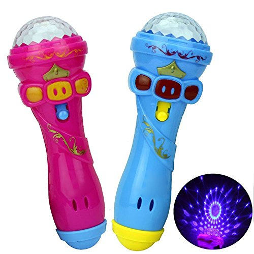 (Baifeng Funny Led Lighting Flash Stick Microphone Toy Model Gift Wireless Music Karaoke Cute Mini Children Kids Party Props Toy Color Random)