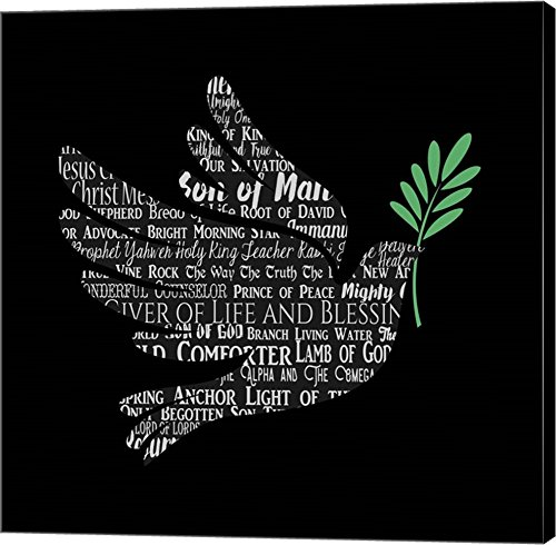 Names of Jesus Dove Silhouette Black by Inspire Me Canvas Art Wall Picture, Gallery Wrap, 37 x 37 inches by Great Art Now