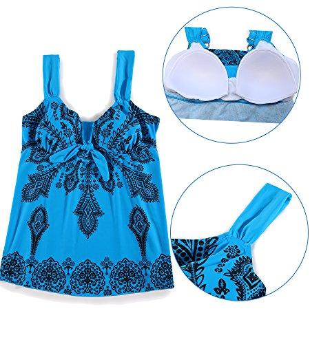Floreale per pantaloncini Bikini SHEKINI donne Azzurro Tankini Taglie Bagno Forti Due Costumi Up Costume Push Da Stampato Beachwear e Donna Pezzi tuta Imbottito gonna TTZEP