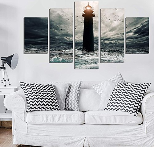 Lighthouse Photo Art (PEACOCK JEWELS [LARGE] Premium Quality Canvas Printed Wall Art Poster 5 Pieces / 5 Pannel Wall Decor Lighthouse-2 Painting, Home Decor Pictures - Stretched)