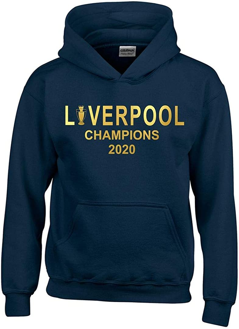Liverpool League Champions 2020 Straight Text T-Shirt Mens Navy