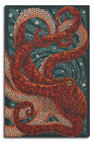 (Lantern Press Octopus - Paper Mosaic (10x15 Wood Wall Sign, Wall Decor Ready to Hang))