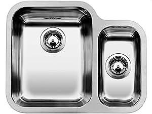BLANCO YPSILON 550-U - Fregadero (Acero inoxidable, 2 bowls, 340 x 420 mm, 17,5 cm, 180 x 340 mm, 13 cm)