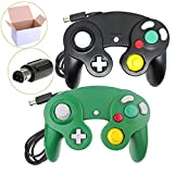 Cheap Poulep 2 Packs Classic Wired Gamepad Controllers for Wii Game Cube Gamecube Console (Black and Green)