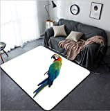 Vanfan Design Home Decorative 656374822 Harlequin beautiful blue green red parrot hybrid cross of Blue-and-Gold and Green Wing Macaw birds isolated on white background Modern Non-Slip Doormats Carpet