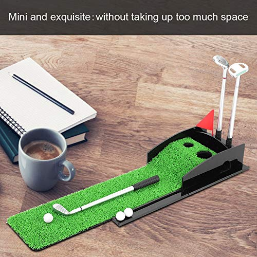 Estink Golf Pen,Mini Desktop Golf Clubs Putter Pen Kits Set with Flag Grass Balls