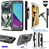 For Samsung Galaxy Emerge SM-J327 ITUFFY 3Items [Tempered Glass]+Stylus Pen+[Impact Resistance] Dual Layer [Belt Clip] Holster Combo [KickStand] Phone Case Grey Wolf - Black