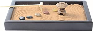 Magik Tabletop Mini Meditation Zen Garden w/Pavilion Statue Rock Venues Rake Sand Base (Model: #2 Black 8.7''x5.94'')