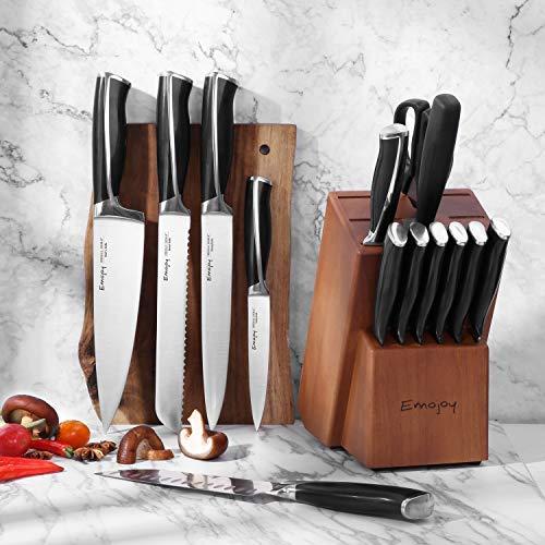 Emojoy Knife Set, 15-Piece Kitchen Knife Set with Block, ABS Handle for Chef Knife Set, German Stainless Steel, by Emojoy (Black) by Emojoy  (Image #4)