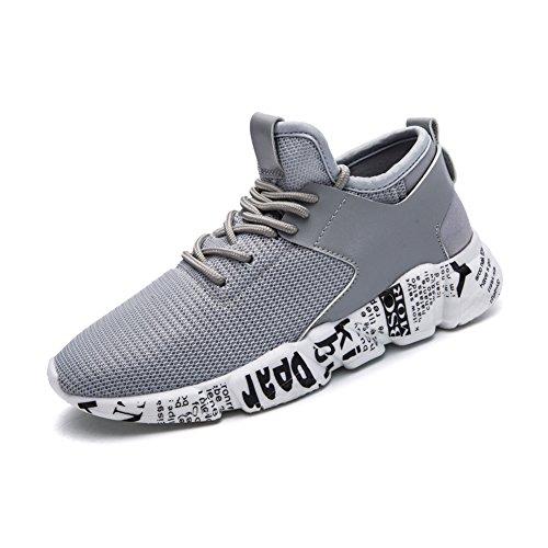 Cheap KONHILL Women's Sneakers Casual Breathable Mesh Joker Sport Walking Athletic Running Shoes, Grey, 37