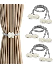 Window Curtain Tiebacks, 6 Pack Magnetic Curtain Holdbacks Small Pearl Ball Curtain Holder Buckle Clips Rope Holdbacks for Home, Office, Hotel Window Pretty and Fashion(Grey)