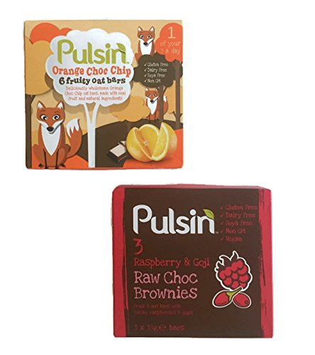 Gluten Free Pulsin Energy Protein Bars Variety Pack of 2 Flavors- Orange Choc Chip (6) Fruity Oat Bars and Raspberry and Goji Raw Choc w/ Cacao Brownies (3) (Made in (Halloween Treats Recipes Uk)