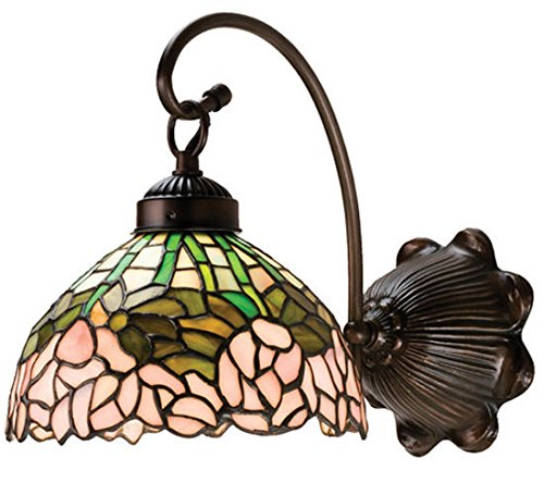 Tiffany Style Stained Glass Light Cabbage Rose Wall Sconce