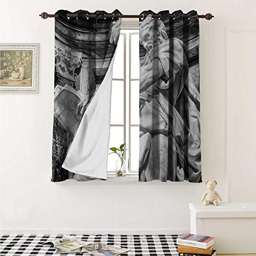 Sculptures Customized Curtains Statue of St. Matthew at Basilica of St. John Lateran Rome Cathedra with Pillars Curtains for Kitchen Windows W63 x L45 Inch Pale - Sculpture Iron Crown