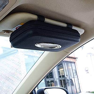 Cartisen Car Tissue Holder, Sun Visor Tissue Holder, Zipper Car Visor Napkin Holder, PU Leather Backseat Tissue Case for Car,Vehicle (Black): Automotive