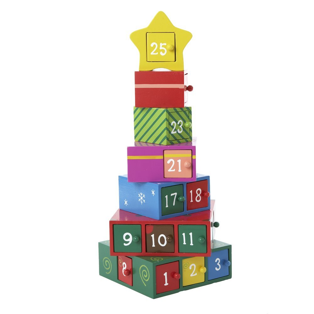Amazon.com: Regalo de madera del árbol de Calendario de Adviento, 13-Inch: Home & Kitchen