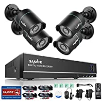SANNCE 8 CH 720P High Definition DVR Security Camera Battery Powered and (4) 1280TVL Indoor/Outdoor Weatherproof Night Vision Bullet CCTV Cameras, Support Smartphone Remote view - NO HDD