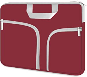 HESTECH Chromebook Case, 11.6-12.5 inch Neoprene Laptop Sleeve Case Bag Handle Compatible with Acer Chromebook r11/HP Stream/Samsung Chromebook/MacBook air 11/ Surface Pro3/Pro4,Wine Red