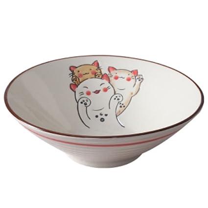 LUNA VOW Sushi cerámica Ramen Bowl – Ensaladera estilo japonés cubiertos (A2)