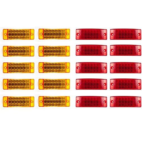 Qty 10 Red + Qty 10 Amber 21 LED Side Marker Clearance Light Rectangle 12V Truck Trailer Camper