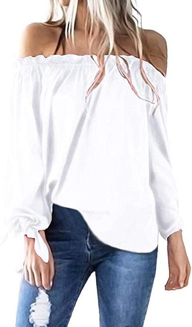 PAOLIAN Blusa de Mujer Manga Largas Otoño 2018 Moda Camisetas Ancho Casual Blusa Hombro Descubierto Camisas Azul Marino Señora Ropa para Mujer Fiesta Tallas Grandes