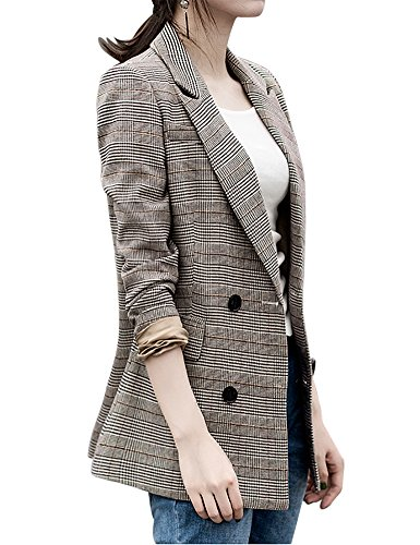 IDEALSANXUN Women's Spring Fall Classic Plaid Double-Breasted Suit Collar Blazer Jackets Slim Fit (Stripe, 10/12) (Suit Cotton Plaid)