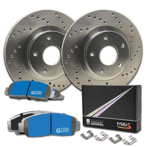Max Brakes Front Supreme Brake Kit [ Premium Cross Drilled Rotors + Ceramic Pads ] KM056921 | Fits: 2003 03 Ford Windstar