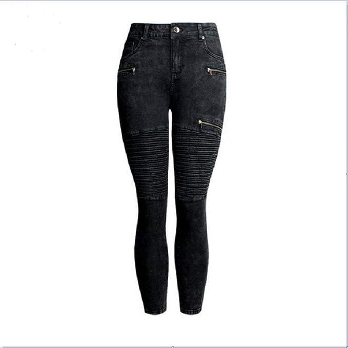 Pantalones Vaqueros De Las Mujeres Moda Jeans Plisado ...
