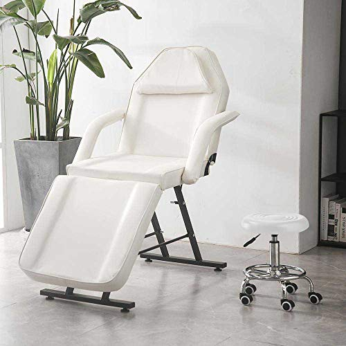 Facial Tattoo Chairs Adjustable Message Salon Bed W/Free Hydraulic Stool (Cream)