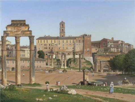 [High Quality Polyster Canvas ,the High Definition Art Decorative Canvas Prints Of Oil Painting 'Christoffer Wilhelm Eckersberg - View Of The Forum In Rome,1814', 8x11 Inch / 20x27 Cm Is Best For Home Office Decor And Home Decor And] (Ready For Action Military Costume)