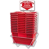 Shopping Basket Set of 12 Durable Red Plastic with Sign and Stand