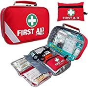 2-in-1 First Aid Kit (215 Piece) + Bonus 43 Piece Mini First Aid Kit -Includes Eyewash, Ice(Cold) Pack, Moleskin Pad and…