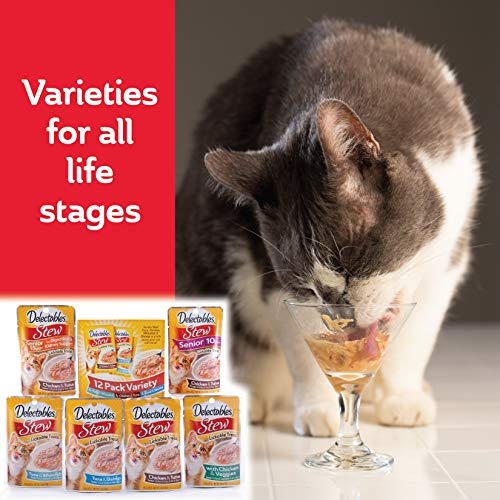 Delectables Stew Senior 10 Years + Lickable Wet Cat Treats - Chicken & Tuna  - 12 Pack