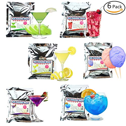 EZ Squeeze 6 Pack Sampler Jello Shot Mixes Makes over 200, 2oz Jello Shots - Natural Boom Gelatin - 6.78 oz. Each - Fun For All Occasions, Birthday Party,Bachelorette Party
