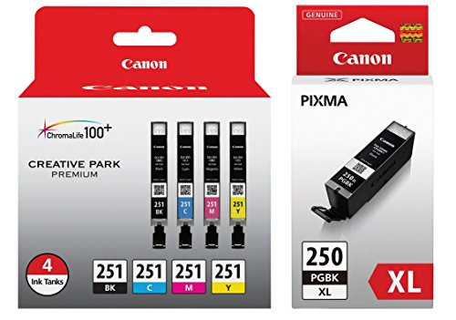 Genuine Canon CLI-251 4-Cartridge Ink Set (6513B004) + Canon PGI-250PGBK XL High-Capacity Pigment Black Ink Tank (6432B001)